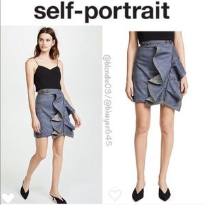 Self-Portrait flounced check skirt US 2 UK 6